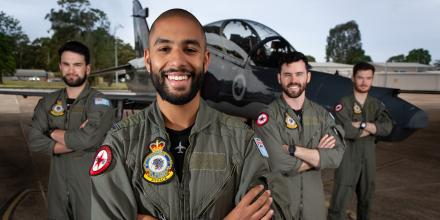 Pilots from No. 76 Squadron show off their beards in support of Movember and Decembeard. Photo: Sergeant Guy Young