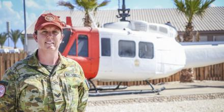 Royal Australian Air Force Corporal Vanessa Bunker in Egypt.
