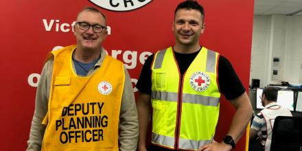 Sergeant Andrew Boyle, left, with Private Nicholas Fabbri at the North Melbourne Red Cross Disaster Response Centre.