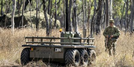 Corporal Aaron Le Jeune, of the 9th Force Support Battalion, trials an unmanned ground vehicle during Exercise Talisman Sabre 2019. Photo: Sergeant Jake Sims