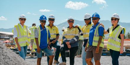 Contractors and sub-contractors working on the Blackrock Camp redevelopment in Fiji take time out to mark International Women's Day. Photo: Zoom Fiji