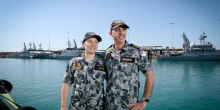 Lieutenant Commanders Julia Griffin and Khan Beaumont, the first married couple in the RAN to command patrol boats at the same time. Photo: Glenn Campbell