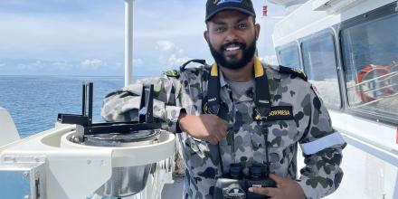 Leading Seaman Boatswain's Mate Benyam Gormiesa navigated ADV Cape Inscription through the Great Barrier Reef.