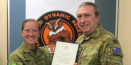 Major Stephen Loftus receives his promotion in 2019 from Major Lindsay Looker, Officer Commanding Regional Training Wing, Defence Force School of Signals.