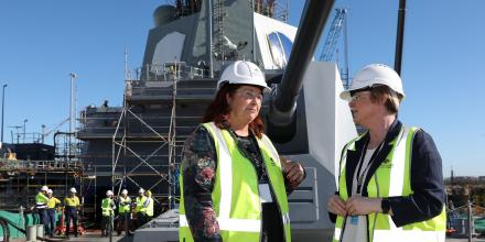 Defence Industry Minister Melissa Price and Defence Minister Linda Reynolds on the deck of a new Air Warfare Destroyer at the Osborne Naval Precinct in South Australia.