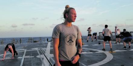 Leading Seaman Shannon Evans deployed as a physical training instructor in HMAS Hobart during the East Asia Deployment.