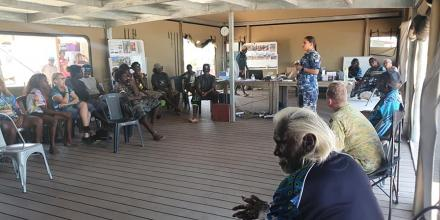 Indigenous liaison officer Pilot Officer Gabrielle Read speaks with Bush Uni students at Wuyagabi, Northern Territory.