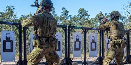 Soldiers from 8/9RAR hone their marksmanship at the shooting range at Greenbank Training Area in Queensland. Photo: Trooper Jonathan Goedhart