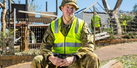 Private Scott Thompson at St Mary's Primary School, Northampton, WA, during the clean-up following Tropical Cyclone Seroja. Photo: Leading Seaman Kieren Whiteley